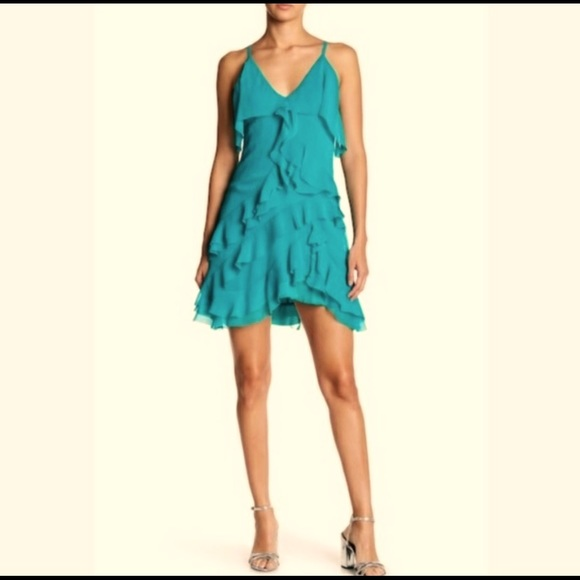 Alice and Olivia teal ruffle dress. Worn only 1x!